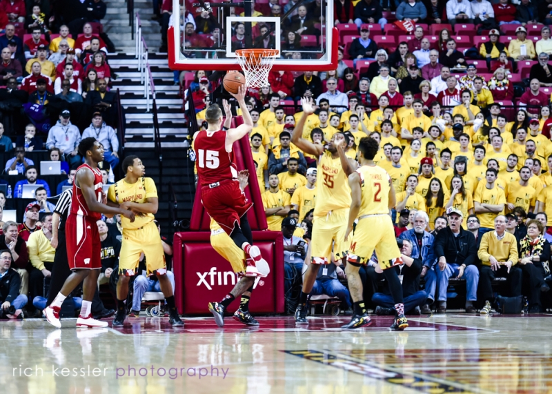 A shot from the Maryland Terrapins VS. Wisconsin Badgers NCAA Men